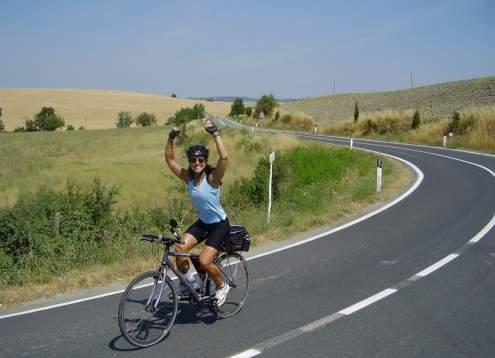 Biking susan doing victory lap