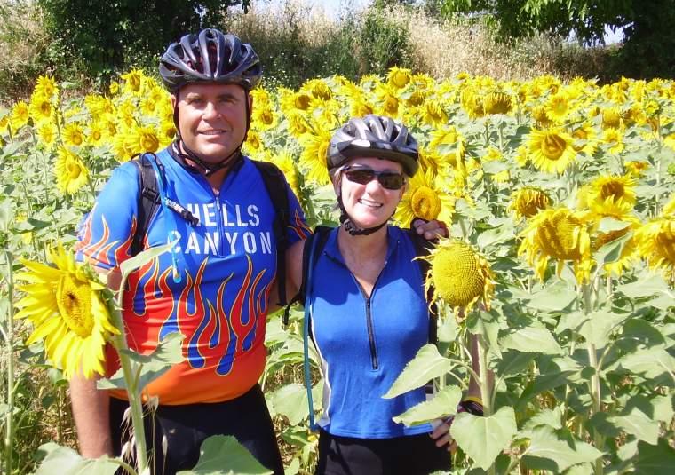 People ann  lorn sunflowers