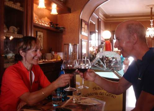 Wine clinking at poliziano