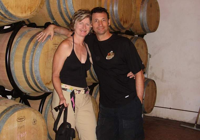 Wine mary lou  antonio among  barrels