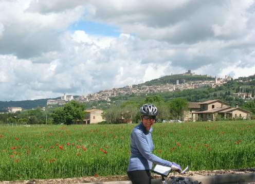 Biking lady and assisi