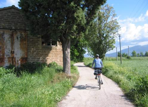 Biking quiet road to assisi